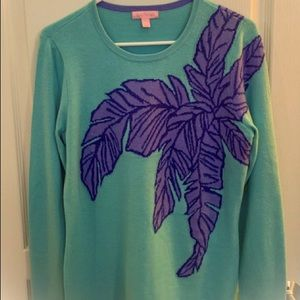 New Lilly Pulitzer Palm Leaf Sweater Size L
